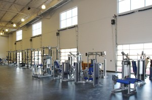Weight room has two levels, and is massive compared to Fitch Park's weight room.