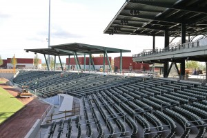 Looking down rightfield seating (east), the new park has plenty of shade!