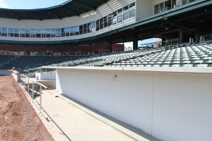 Cubs dugout on third base line, opposite of Hohokam, but same as Wrigley.