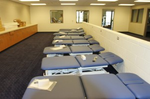 Training tables, another full row on the other side of short wall.