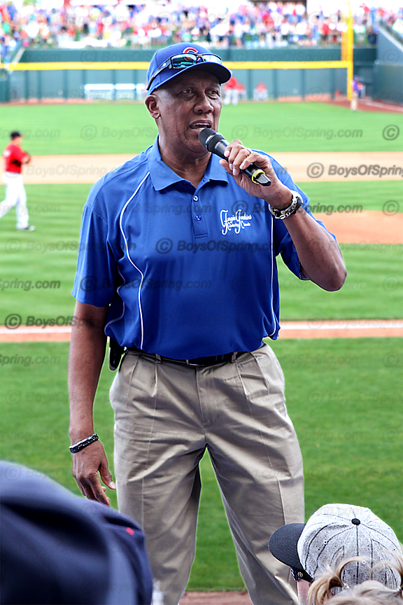 Hall of Famer Fergie Jenkins leads fans during 7th inning stretch at Cubs Park