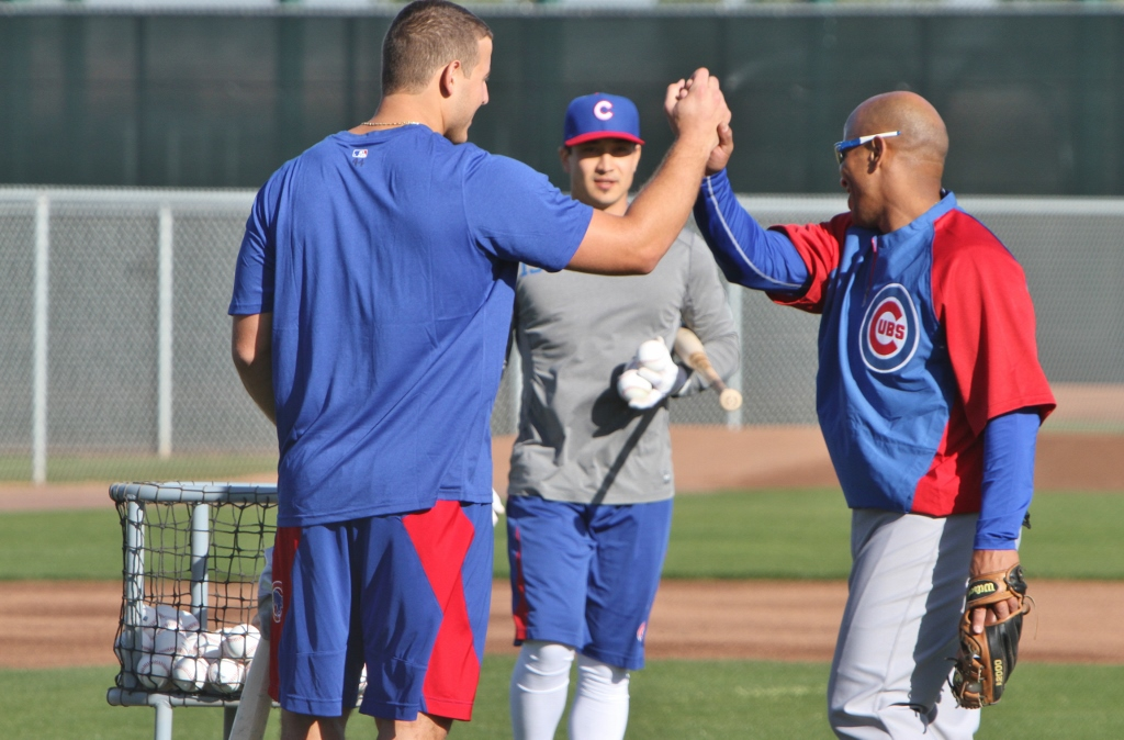 Anthony Rizzo and Franklin Font after bp session, Darwin Barney in background