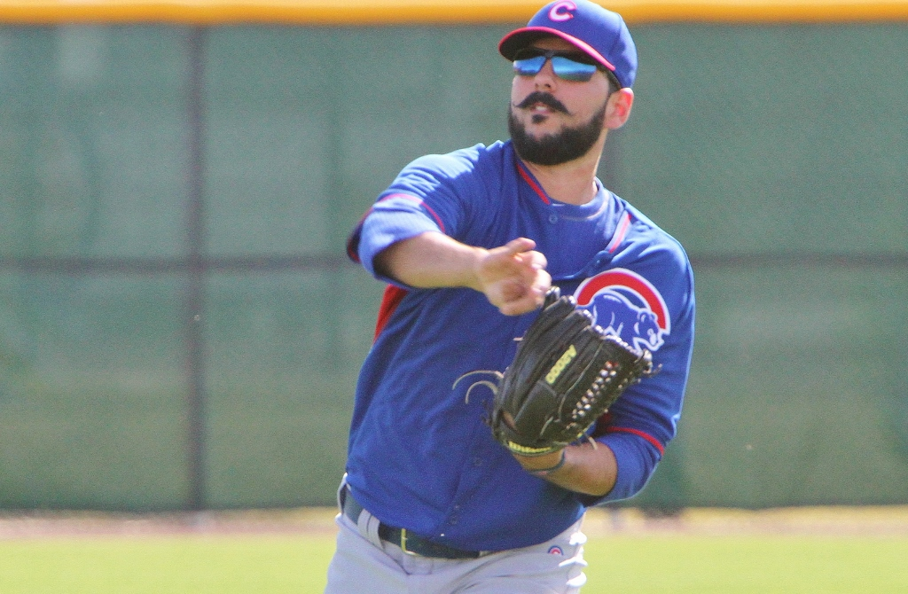 Cubs pitcher Carlos Villanueva works out at the new Cubs Park in Mesa, AZ
