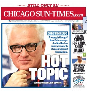 John's cover shot, of Manager Maddon