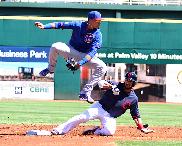 Baez tiring to harness errant throw from outfield