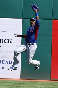 Soler makes a jumping catch of hard iner