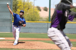 Jake Arrieta vs Triple-A Rockies working on pitches