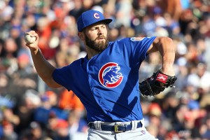 Arrieta in the first inning on Thursday before leaving game with blister