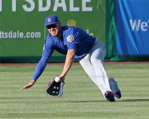 Kris Bryant can't make the catch vs Giants on Thursday