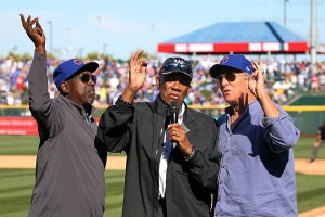 Hall of Famer Fergie Jenkins leads the 7th inning stretch, flanked by Gary (Sarge) Matthews and Pete LaCock