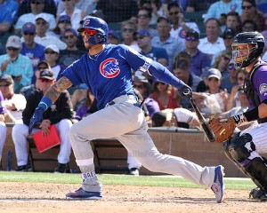Javier Baez with a double on Saturday vs Rockies