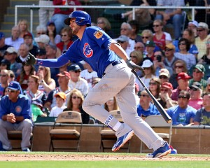 Kris Bryant hits a double