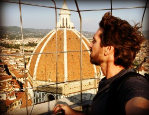 Me on top of Giotto's Tower in Florence, Duomo in background