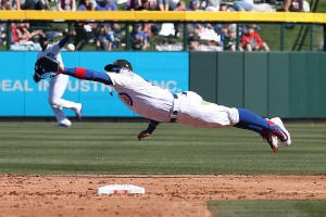 Baez dive but misses this one, shows athleticism