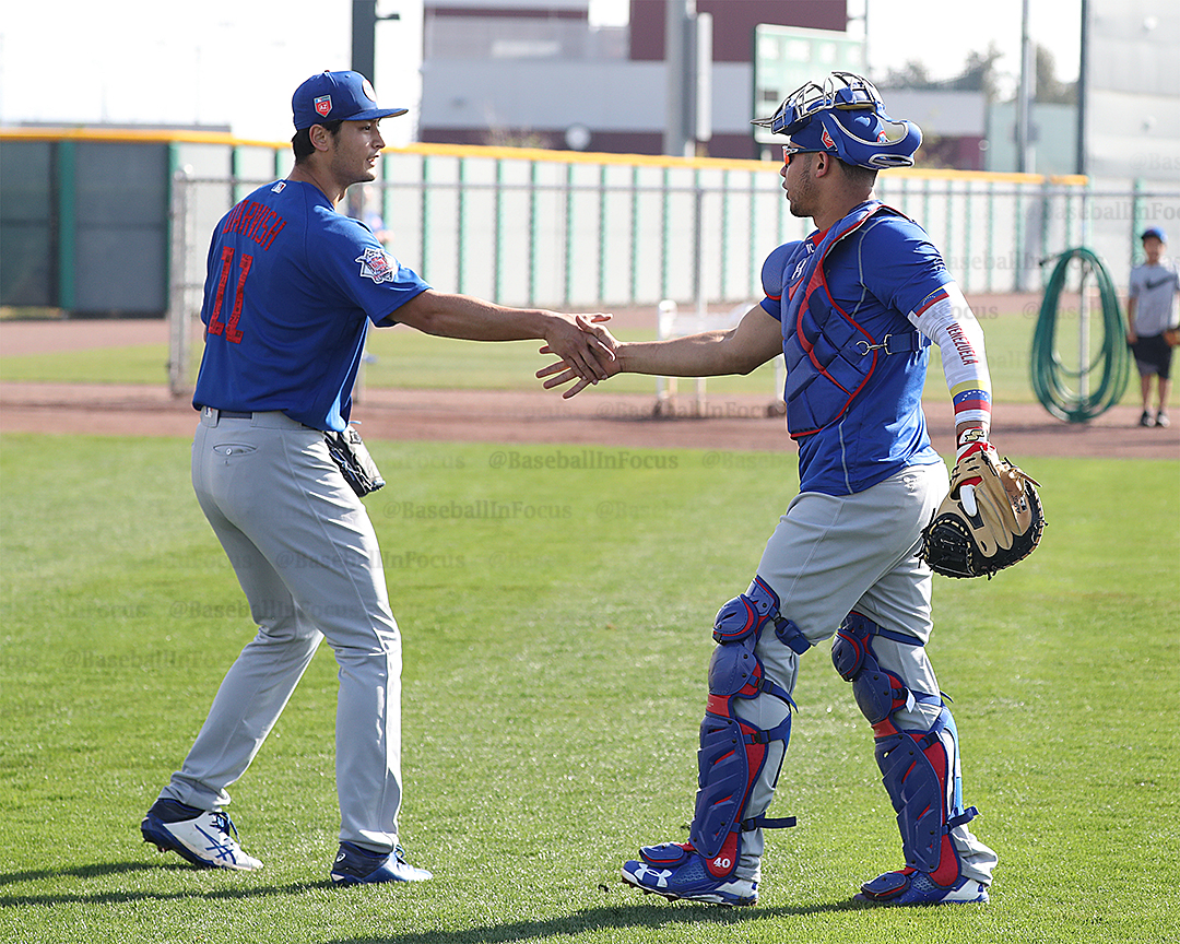 Darvish greets Willson