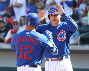 Rizz greets Schwarb after HR